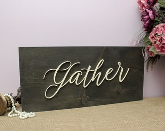 Gather Wood Sign, Thanksgiving Decor, Gather Sign, Kitchen Decor, Rustic Wood Sign, Dining Room Wall Hanging, Thanksgiving Decorations