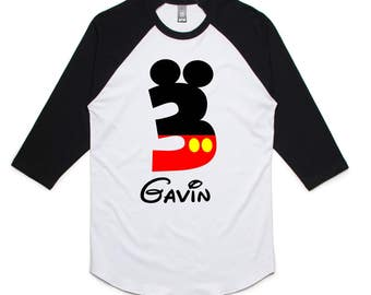 Mickey Mouse Birthday Boy Mickey Birthday Raglan Shirt - Mickey Birthday Shirt