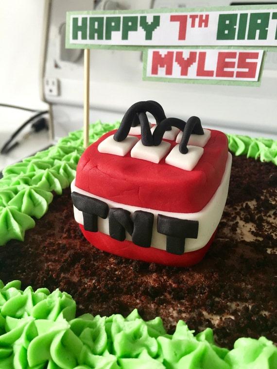 Minecraft Tnt Block Cake Topper