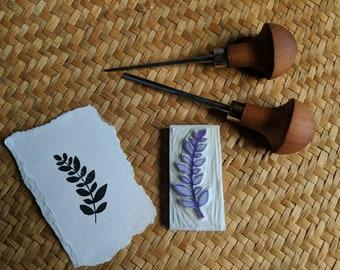 Leaf branch handcarved stamp, Rubber stamp