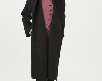 Womens Long Boiled Wool Coat Grey - Carmen Coat