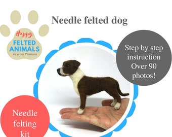 Dog Needle Felted Animal Kit Needle Felting Tutorial and Materials Do it Yourself Craft Kit Gift for Her Dog Plush DIY Kit Felt Toy Dog