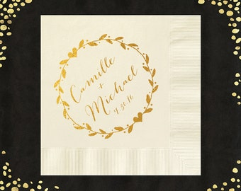 100+ Wedding Napkins Rustic Wreath Luncheon Napkins Rustic Beverage Napkins Party Napkins Custom Personalized Napkins LOTS of COLORS!