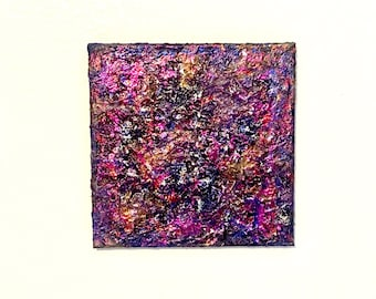 """Alien Geode Foiled Hologram 3D Painting - Multimedia Textured Geologic Inspired Art - 12""""x12"""" Square, Ready To Hang, One Of A Kind"""