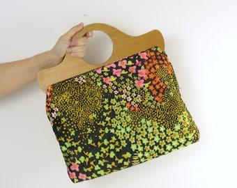 Sale Vintage 1960s Neon Bright Fabric Handbag w/ Wooden Handles