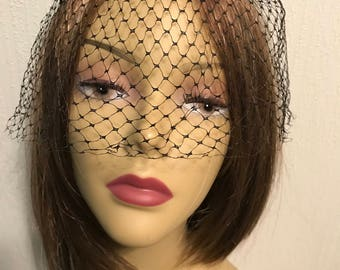 Black Netting Birdcage Fascinator Veil with Black Velvet Bows Mid Century - Free Shipping to USA