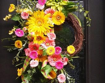 Gerber Daisy Wreath, Spring Wreaths, Floral Door Wreath, Wreaths For Spring, Spring Door Wreath, Wall Floral Arrangement