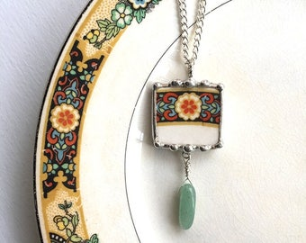Broken china jewelry, pendant necklace, Art Deco, 1920, floral, antique china, amazonite bead drop, sterling silver wires