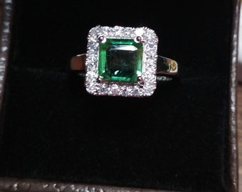 925 sterling silver natural transparent green emerald sqware octagon sizable girls  ring