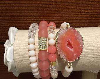 Peach and gold gemstone bracelet set