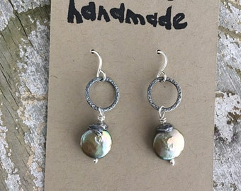 Pearl with fine and sterling silver earrings