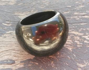Vintage chuncky black plastic ring