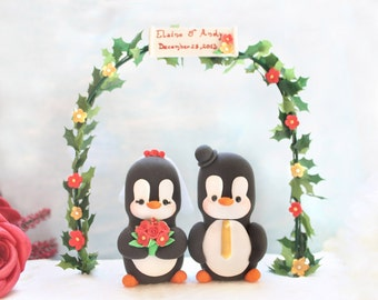 Wedding cake topper Penguins with arch - gold red unique bride groom figurines black white elegant christmas personalized names anniversary