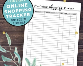 Online Shopping Tracker Printable, Online Purchases Log, Half Size Inserts, Filofax A5, A4, Letter Size, Packages Tracker, Orders Organizer