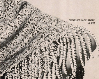 Crocheted Lace Stole PDF Pattern / Crocheted lace shawl pattern / Wedding shawl