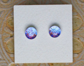 Dichroic Glass Earrings , Blue/Gray/Red DGE-1263