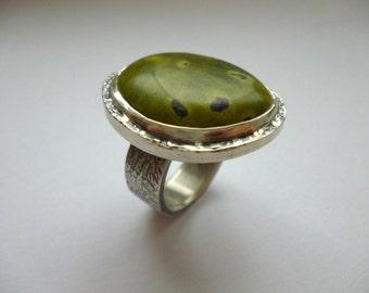 Sterling Silver rough rim atlantisite ring