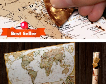 Paper Anniversary Gifts for him, First Year Anniversary World Map