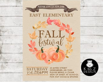 Fall Fest Invitation/ Fall Invitation/ Fall Bridal Shower Invitation/ Printable Invitation / Printed Invitations