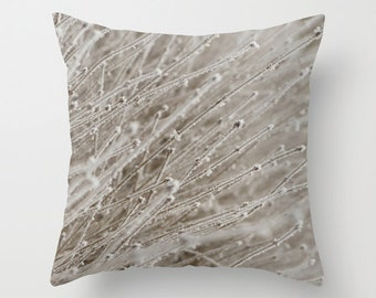 Abstract Winter illow Cover, Modern Throw Cushion, Rustic Home Decor, Frosted Branches, Handmade In Canada, Aluminium Gray, Hoarfrost