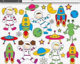 Space Clipart, Astronaut Clip Art, Commercial Use Digital Images, Rockets, Space Ships, Planets, Alien, Moon and Stars