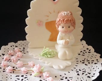 FIRST COMMUNION Cake Topper, Baptism Cake Topper, Communion Favor, First Communion Decoration, Boy Baptism Cake Topper, First Communion Girl