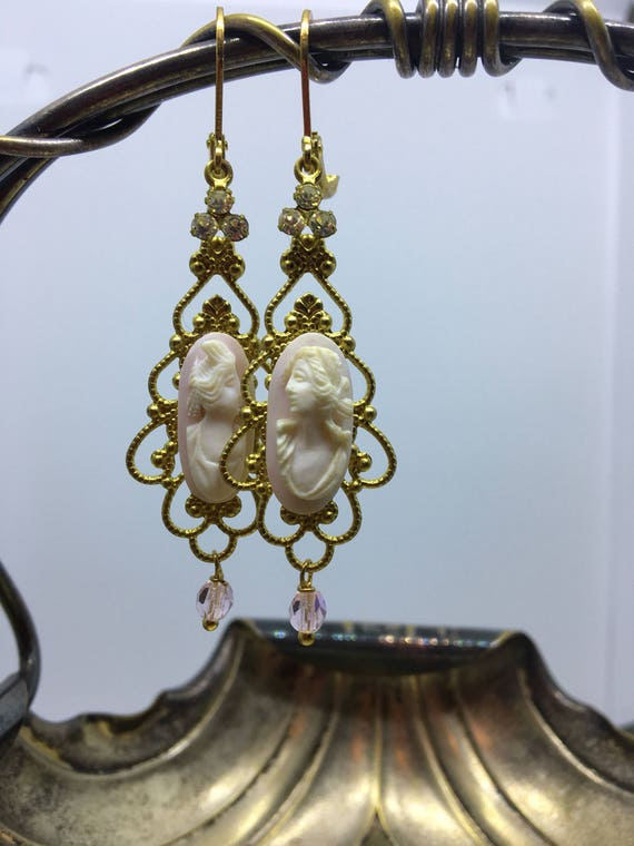 "Dangle Earrings ""Victorian CAMEO"" vintage assemblage Repurposed cameo rhinestones cabochons filigree bronze, mixed media art, upcycled, OOAK"