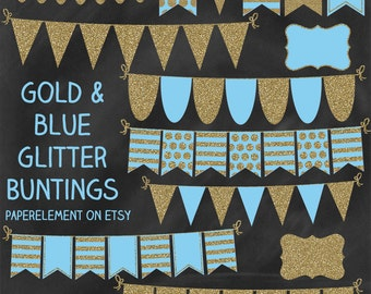 Baby Blue and Gold Banner Clip Art, Ribbon Glitter Banner, Gold Bunting Clipart, Bunting Banner Clipart, Glitter Bunting Clip Art Garland