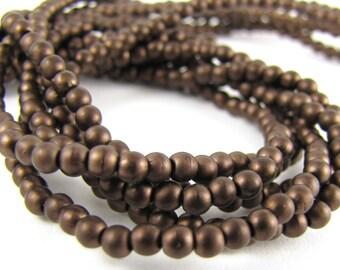 Matte Dark Bronze 3mm  Round Czech Glass  Beads 100pc #583