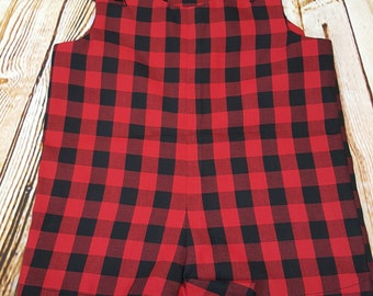 Baby Romper Red Buffalo Plaid