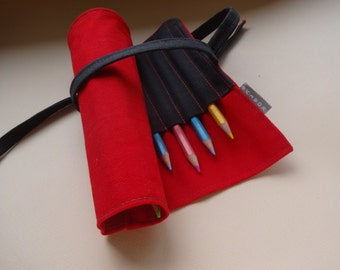 Roll Up Pen Case, Red Pencil Case Handmade, Waldorf Roll Pencil Case, Back to School, Simple pencil Case