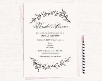Simple bridal shower etsy simple bridal shower invitation filmwisefo