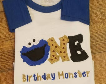 Fast Shipping!!! cookie monster shirt/ cookie monster birthday/ elmo birthday shirt/ customized birthday shirt