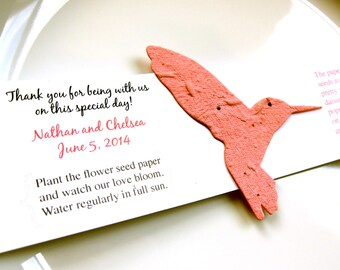 100 Seed Paper Hummingbird Wedding Favors - Plantable Paper Favors - Bird Wedding Favor with Flower Seeds