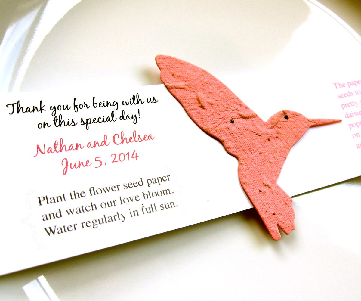 40 Seed Paper Hummingbird Wedding Favors Plantable Paper