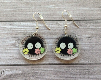 Soot sprite earrings from Spirited Away - Miyazaki, Ghibli studio, geek, cute, kawaii, japanese, lasercut acrylic