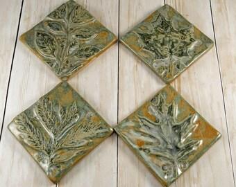 Ceramic Tile Pottery Handmade Accent Tile Wall Art Kitchen Tile Bathroom Tile Set of 4 Green Leaf Backsplash Rustic Home Decor, 714
