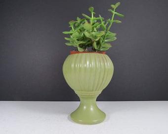 Vintage Floraline Pedestal Planter // Vintage Tall Footed Matte Green Glazed Pottery Vase or Flower Pot 407 USA McCoy Indoor Planter Dish