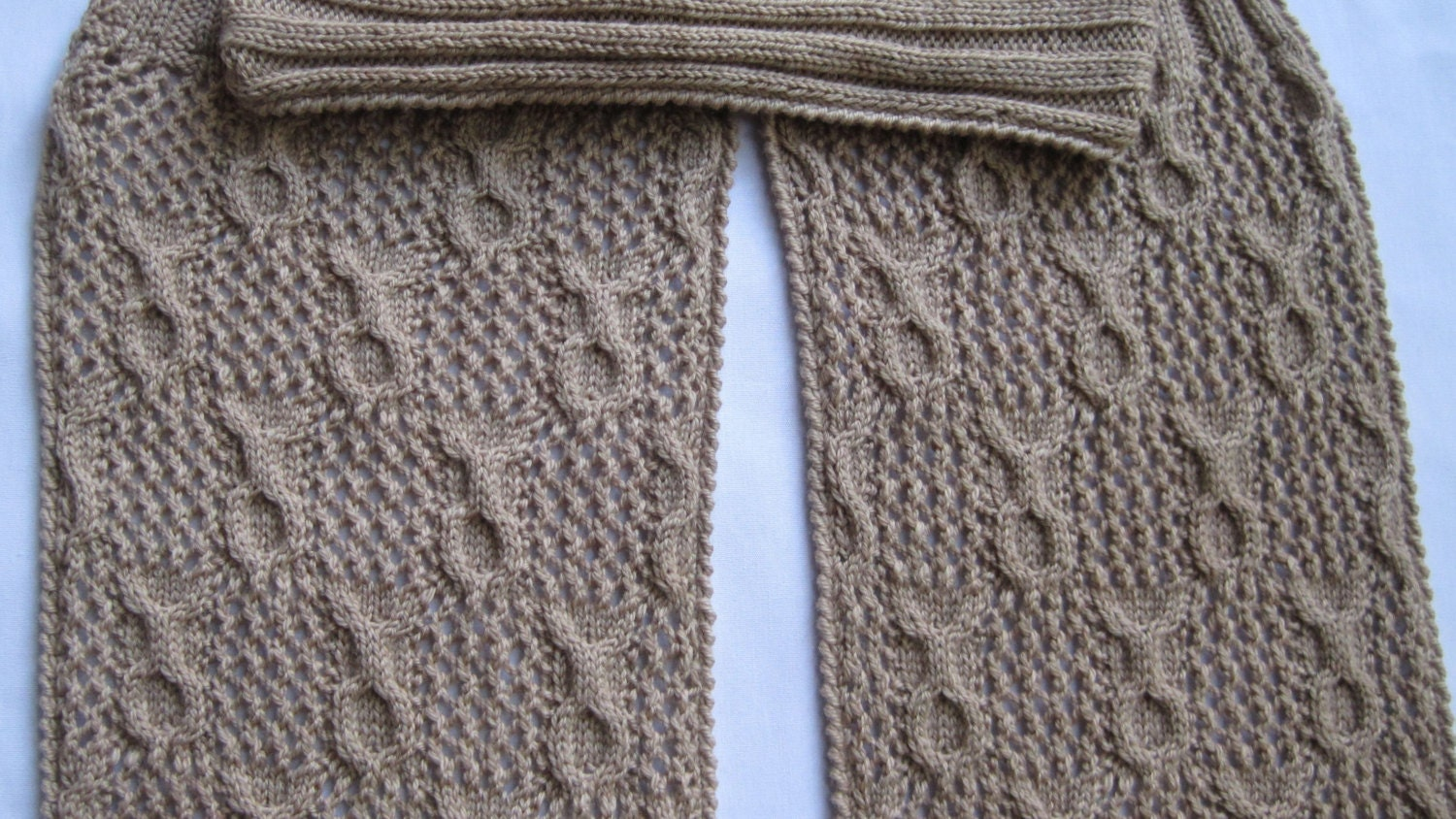 Knit Scarf Pattern: Sandy Circles Cable Lace Turtleneck Scarf ...