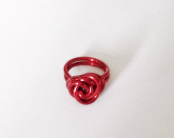 Wire Wrapped Red Rose Ring