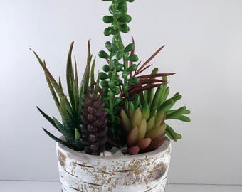 White Birch Concrete Artificial Succulent Planter / Artificial Succulent Arrangement / Succulent Planter