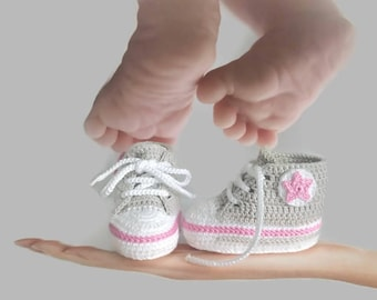 Baby girl coming home outfit personalized, Baby girl clothes , Crochet baby girl shoes, Gray and pink, Baby girl outfits
