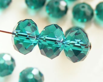 8x6mm Crystal Beads Faceted Rondelles Dark Sea Green Abacus (Qty 12) MW-8x6R-TDSG
