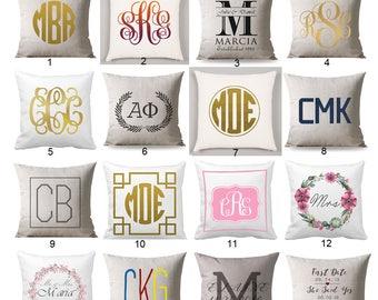 Personalized Monogrammed pillow, Monogram Pillow personalized, Cushion Black Monogram, wedding gift, personalized gift, cushion cover