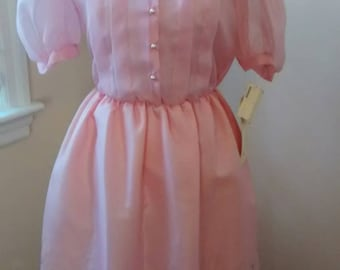 Party Dress Pink 70s junior Vicky Vaughn New vintage with tags. Cotton candy extra small pink dress