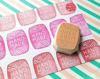 yarn skein rubber stamp for knitting crocheting | handmade packaging stamp for knitter crocheter | diy | hand carved by talktothesun