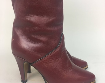 1980s Knee High Boots / vintage 1980s Burgundy Leather Boots  / size 5 1/2