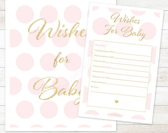 wishes for baby pink and gold baby shower printable game DIY pink and gold glitter digital baby shower games - INSTANT DOWNLOAD