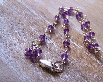 Amethyst Bracelet - Stone Bracelet - Sterling Silver & Amethyst Bracelet - Birthstone Bracelet