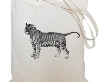 Tote bag/ drawstring bag/ tiger cotton bag/  material shopping bag/ tiger/ shoe bag/ animal/ market bag